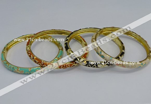 CEB95 6mm width gold plated alloy with enamel bangles wholesale