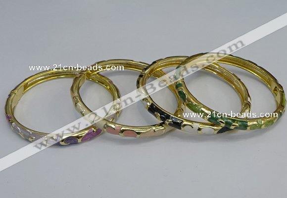 CEB97 6mm width gold plated alloy with enamel bangles wholesale