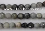 CEE352 15.5 inches 8mm faceted round eagle eye jasper beads