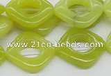CEJ10 15.5 inches 20*20mm diamond lemon jade beads wholesale