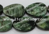 CEM25 15.5 inches 18*25mm twisted oval emerald gemstone beads