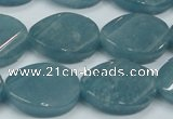 CEQ126 15.5 inches 18*25mm twisted oval blue sponge quartz beads