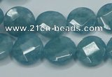CEQ183 15.5 inches 14mm faceted coin blue sponge quartz beads