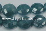CEQ184 15.5 inches 16mm faceted coin blue sponge quartz beads