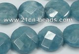 CEQ185 15.5 inches 18mm faceted coin blue sponge quartz beads