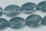 CEQ194 15.5 inches 15*20mm faceted oval blue sponge quartz beads