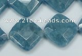 CEQ216 15.5 inches 20*20mm faceted diamond blue sponge quartz beads