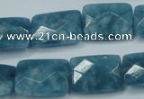 CEQ234 15.5 inches 15*20mm faceted rectangle blue sponge quartz beads