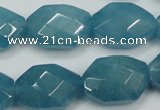 CEQ245 15.5 inches 15*22mm faceted octagonal blue sponge quartz beads