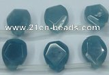 CEQ255 15.5 inches 13*16mm faceted flat teardrop blue sponge quartz beads