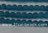 CEQ265 15.5 inches 4mm round matte blue sponge quartz beads