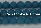 CEQ266 15.5 inches 6mm round matte blue sponge quartz beads
