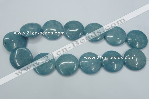 CEQ99 15.5 inches 30mm flat round blue sponge quartz beads