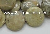 CFA08 15.5 inches 20mm flat round chrysanthemum agate gemstone beads