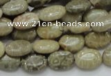 CFA09 15.5 inches 10*14mm oval chrysanthemum agate gemstone beads
