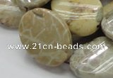 CFA21 15.5 inches 22*30mm twisted oval chrysanthemum agate beads