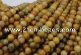 CFA30 15.5 inches 4mm round yellow chrysanthemum agate beads
