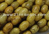CFA36 15.5 inches 8*12mm rice yellow chrysanthemum agate beads