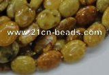 CFA46 15.5 inches 10*14mm oval yellow chrysanthemum agate beads