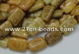 CFA51 15.5 inches 8*12mm rectangle yellow chrysanthemum agate beads