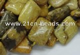 CFA53 15.5 inches 13*18mm rectangle yellow chrysanthemum agate beads