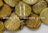 CFA56 15.5 inches 20mm twisted coin yellow chrysanthemum agate beads
