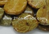 CFA58 22*30mm twisted & flat teardrop yellow chrysanthemum agate beads