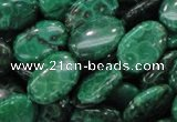 CFA71 15.5 inches 12*18mm oval green chrysanthemum agate beads