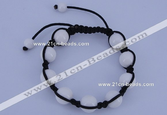 CFB515 12mm round candy jade beads adjustable bracelet wholesale