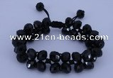 CFB587 8*10mm faceted rondelle crystal beads adjustable bracelet