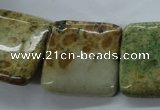 CFC128 15.5 inches 25*25mm square fossil coral beads wholesale