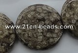 CFC130 15.5 inches 30mm flat round fossil coral beads wholesale
