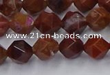 CFC307 15.5 inches 8mm faceted nuggets dyed coral jade beads