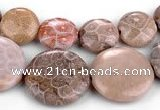 CFC53 15.5 inches flat round coral fossil jasper beads wholesale
