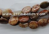 CFC76 15.5 inches 8*10mm oval fossil coral beads wholesale