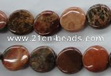 CFC80 15.5 inches 12mm flat round fossil coral beads wholesale