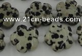 CFG1026 15.5 inches 16mm carved flower dalmatian jasper beads
