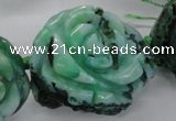 CFG1172 15.5 inches 35mm carved flower plated agate gemstone beads