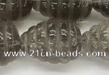 CFG1515 15.5 inches 15*20mm carved teardrop smoky quartz beads