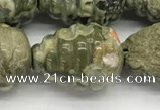 CFG1520 15.5 inches 15*20mm carved teardrop rhyolite gemstone beads