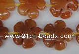 CFG216 15.5 inches 20mm carved flower red aventurine beads