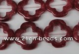 CFG258 15.5 inches 20mm carved flower dyed white jade beads