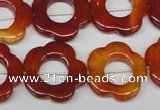 CFG259 15.5 inches 20mm carved flower red agate gemstone beads