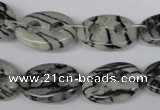 CFG293 15.5 inches 15*20mm carved oval black water jasper beads