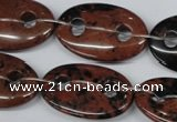 CFG305 15.5 inches 20*30mm carved oval mahogany obsidian beads