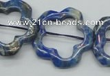 CFG32 15.5 inches 30mm carved flower lapis lazuli gemstone beads