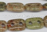 CFG321 15.5 inches 15*20mm carved rectangle unakite beads