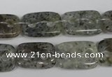 CFG323 15.5 inches 15*20mm carved rectangle moss quartz beads
