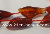 CFG563 15.5 inches 14*28mm carved trumpet flower red agate beads