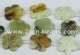 CFG663 15.5 inches 15mm carved flower flower jade beads